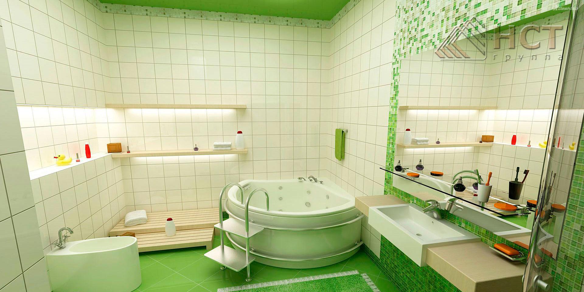 Дизайн ванной из мелкой плитки